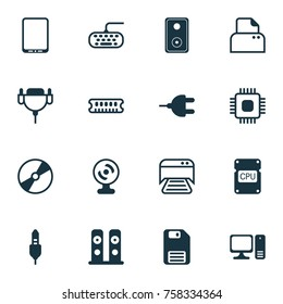 Computer Icons Set. Includes Icons Such As Cellphone, File Scanner, Dynamic Memory And Other.