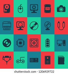 Computer icons set with sd card, photocamera, personal computer and other music elements. Isolated vector illustration computer icons.