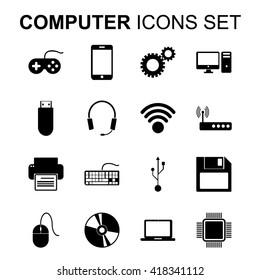 Computer icons set. Technology silhouette symbols. Flat design vector illustration