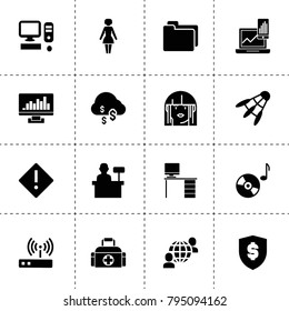 Computer icons. vector collection filled computer icons. includes symbols such as dollar cloud, folder, office desk, warning, music disc. use for web, mobile and ui design.