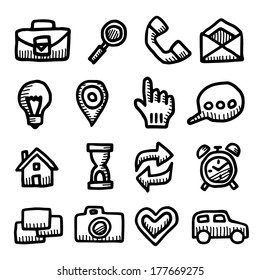 Computer icons vintage drawings set isolated on white background