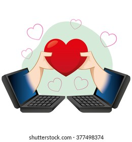 Computer illustration and notebook, people in a virtual romance. Ideal for catalogs, informational and institutional guides