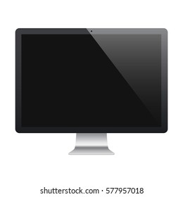 computer in imac style frosted black color with blank screen isolated on white background. stock vector illustration eps10