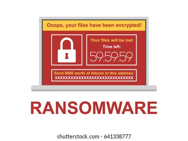 Computer infected by malware ransomware wannacry virus