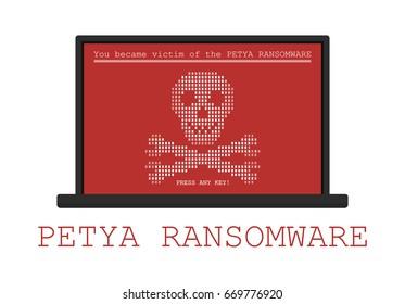 Computer infected by malware ransomware PETYA virus
