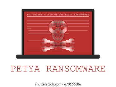 Computer infected by malware ransomware PETYA virus