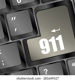 Computer keyboard with the 911 sign vector