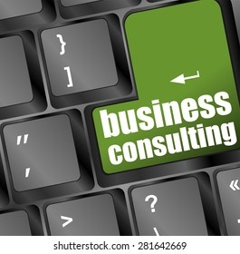 Computer keyboard with business consulting key. business concept vector