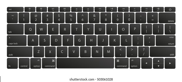 Computer keyboard button layout template with letters for graphic use. Vector illustration. EPS10