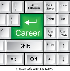 Computer Keyboard with Career - Business Concept