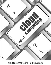 computer keyboard for cloud computing, business concept  vector illustration