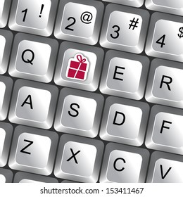 Computer keyboard with gift key vector business background