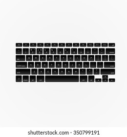 Computer keyboard, isolated on white background, vector illustration.