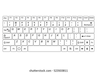 Computer keyboard isolated on a white background. Vector illustration.