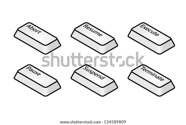 Computer Keyboard Key Caps Abort Pause Stock Vector (Royalty Free
