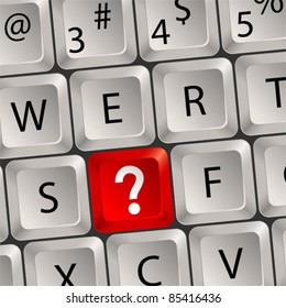 Computer keyboard with a key with a Question