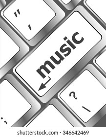Computer keyboard with music key - technology background vector illustration