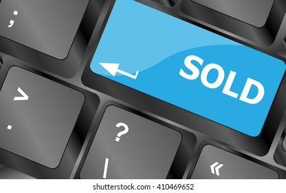 Computer keyboard with sold key - internet concept. Keyboard keys icon button vector