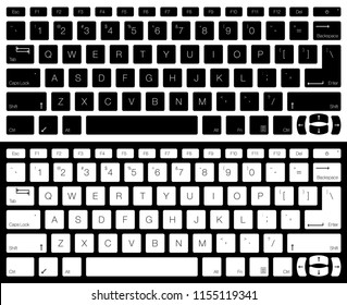 Computer Keyboard Vector Isolated. Black and White Version. Top View