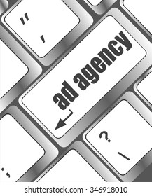 computer keyboard with word Ad Agency, selected focus on enter button background vector illustration