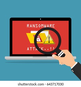 Computer laptop desktop screen show massage ransomware attack of malware wannacry ransomware virus encrypted files. Vector illustration cybercrime and cyber security concept.
