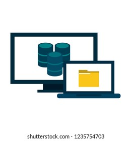 Computer and laptop with folder and database