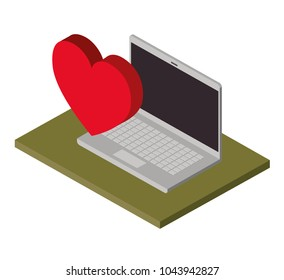 computer laptop with heart isometric icon