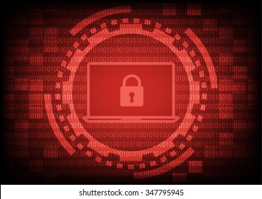 Computer laptop with key in red of ring and gears on binary code background.Vector illustration security technology concept.