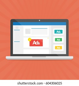 Computer laptop with social media advertising website.Vector illustration social ads digital marketing concept.