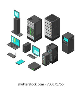 Computer and laptop with system hardware networking. Isometric technology and banking vector icons.