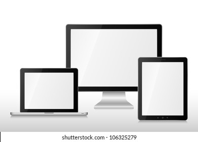 Computer, laptop and tablet on table. EPS 10 vector illustration. Used transparency layers of reflection effect