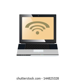 Computer Laptop With Wifi Sign For Online Communication Concept Isolate on White Background