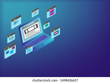 Computer Laptops with icon internet with copy space.Computer laptop devices connected to Communication and technology working.location icon,e-mail,Entertainment.Vector IT and connecting device .
