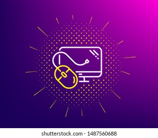 Computer line icon. Halftone pattern. PC mouse component sign. Monitor symbol. Gradient background. Computer mouse line icon. Yellow halftone pattern. Vector