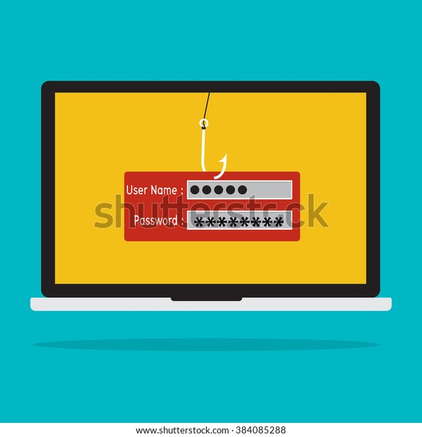 Computer with malware virus phishing username and password logon. Vector illustration business computer security technology concept.