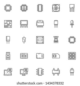 Computer microchip line icons set. linear style symbols collection outline signs pack. vector graphics. Set includes icons as Transistor chip, Microcircuit, Computer processor, Integrated circuit, led