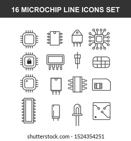 Computer microchip line icons set. linear style symbols collection outline signs pack. vector graphics. Set includes icons as Transistor chip