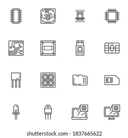 Computer microchip line icons set, outline vector symbol collection, linear style pictogram pack. Signs logo illustration. Set includes icons as cpu processor, pc chip, circuit board, laptop hardware