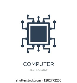 computer microprocessor icon vector on white background, computer microprocessor trendy filled icons from Technology collection, computer microprocessor vector illustration