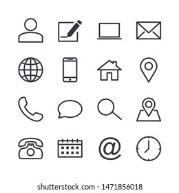 computer and mobile icons. phone, website, mail, time, call, home, printer, laptop, calendar, chat, edit, pin, map, person color editable vector sign isolated on white background for graphic and web d
