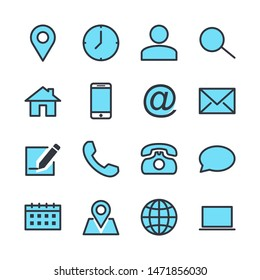 computer and mobile icons. phone, website, mail, time, call, home, printer, laptop, calendar, chat, edit, pin, map, person color editable vector sign isolated on white background for graphic and web