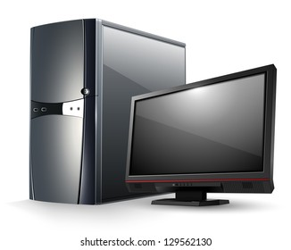 Computer with monitor.