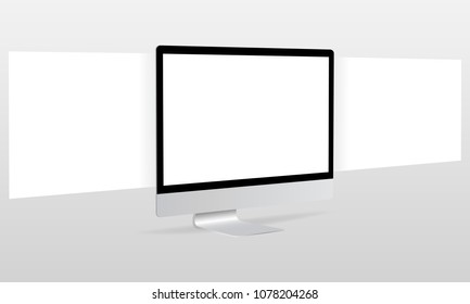 Computer monitor with blank framework web pages. Responsive screen mockup.  Web-design concept to showcasing your web projects. Vector illustration