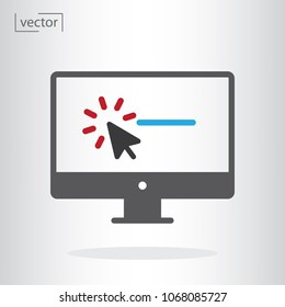 computer or monitor, cursor click promotion page icon vector