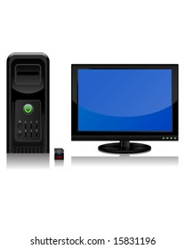 Computer, Monitor, and Disk (vector)