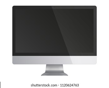 Computer monitor display with black screen isolated on white background. Front view. Vector illustration.