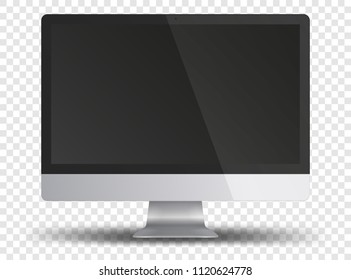 Computer monitor display with black screen isolated on transparent background. Front view. Vector illustration.