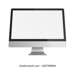 Computer monitor display with blank screen isolated on white background. Vector illustration.