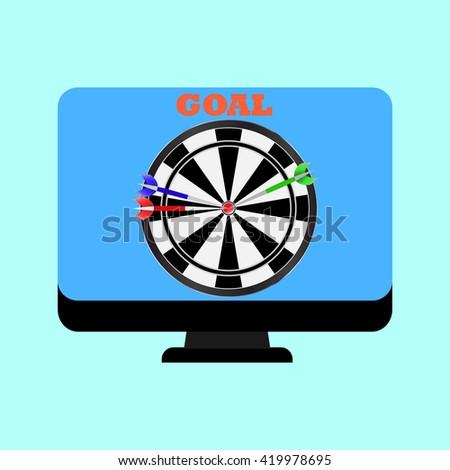 Computer Monitor Game Darts On Screen Stock Vector Royalty Free