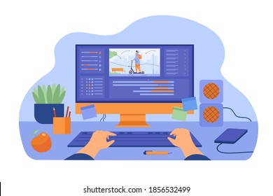 Computer and monitor of graphic animator creating video game, modeling motion, processing video file, using professional editor. Vector illustration for graphic design, art, designer workplace concept